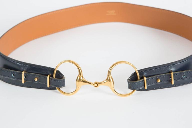 Navy Boxcalf Leather Hermès Belt 3