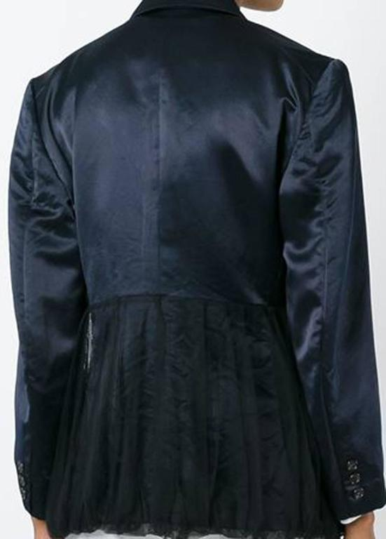 Black  1990s Comme Des Garcons Dark Navy  Peplum Satin Jacket For Sale