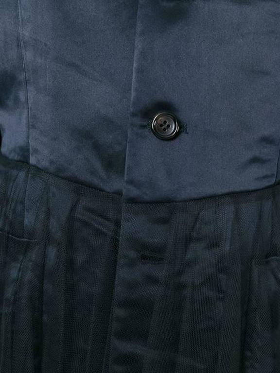 1990s Comme Des Garcons Dark Navy  Peplum Satin Jacket 4