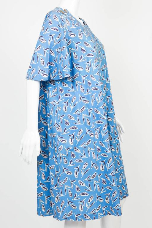 1980s Yves Saint-Laurent Blue Printed Tulip Dress 3
