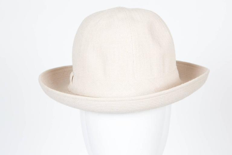 Motsch Paris Summer Canvas Hat Ivory In Good Condition For Sale In Paris, FR