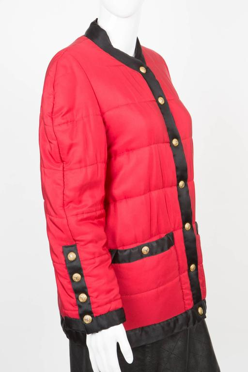 Women's Chanel Red Padded Silk Coat  For Sale