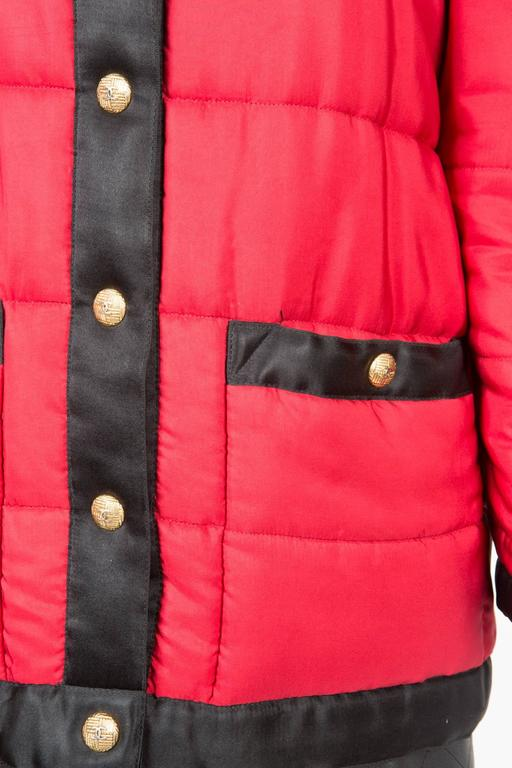 Chanel Red Padded Silk Coat  For Sale 1