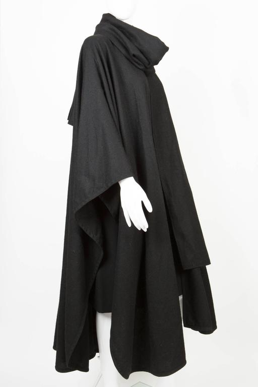Emblematic Black Saint Laurent Wool Cape 5