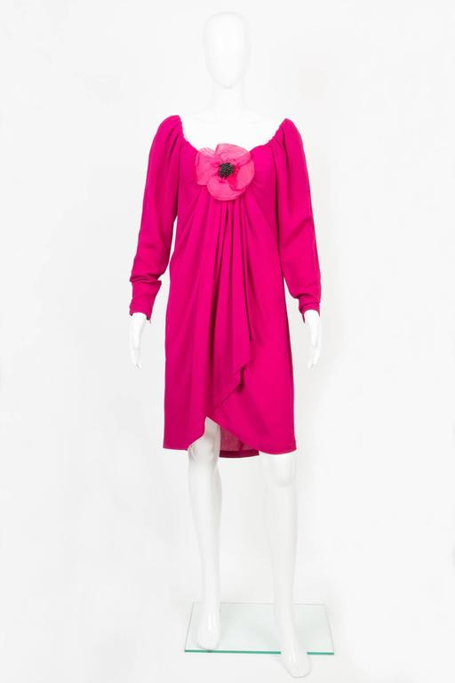 Pink 1990s Red Fuchsia Saint Laurent Cocktail Dress For Sale