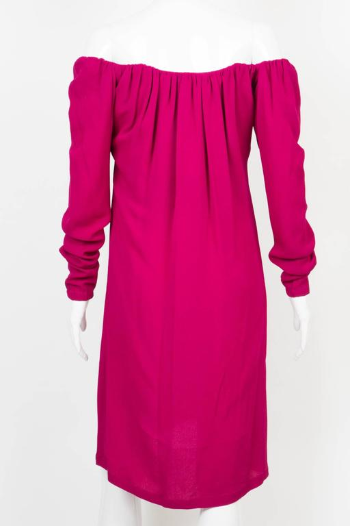1990s Red Fuchsia Saint Laurent Cocktail Dress In Excellent Condition For Sale In Paris, FR