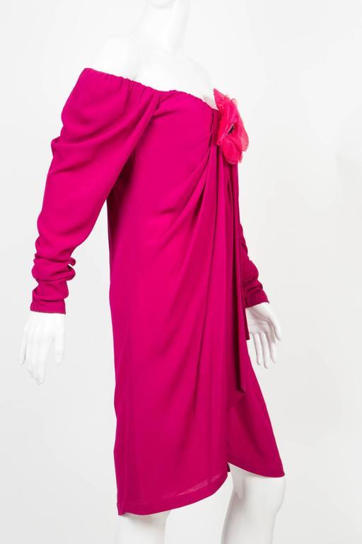1990s Red Fuchsia Saint Laurent Cocktail Dress For Sale 1