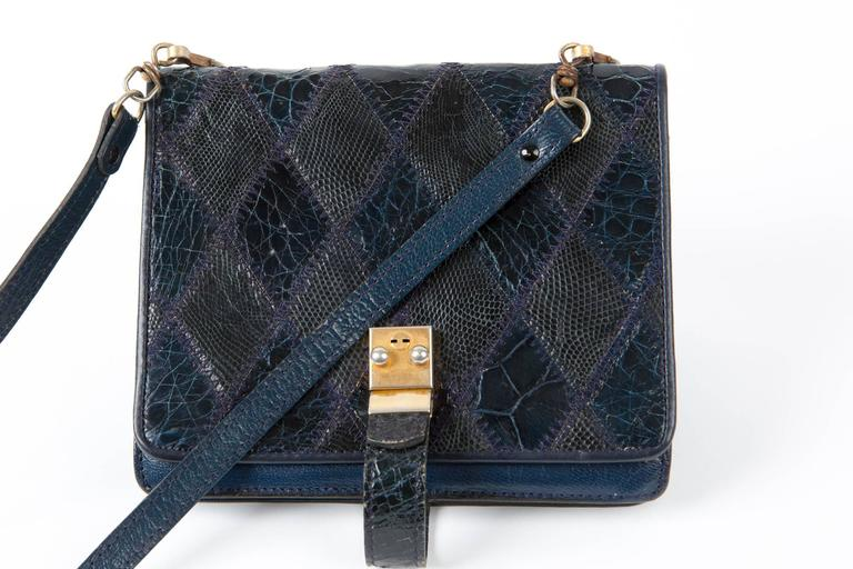 Navy Leather Patches Clutch In Excellent Condition For Sale In Paris, FR