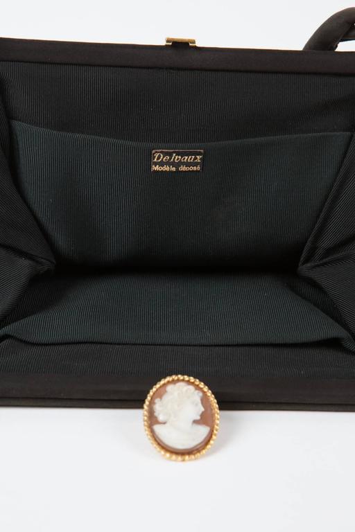 Collector 1950s Black Delvaux Handbag Cameo  For Sale 1
