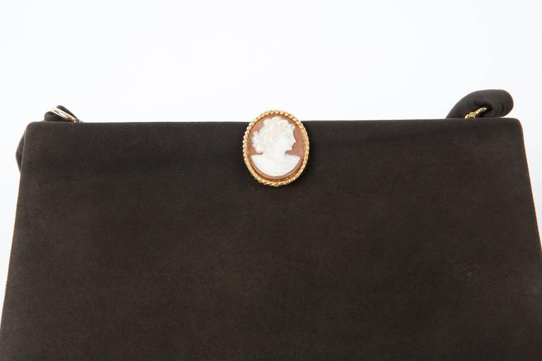 Women's Collector 1950s Black Delvaux Handbag Cameo  For Sale