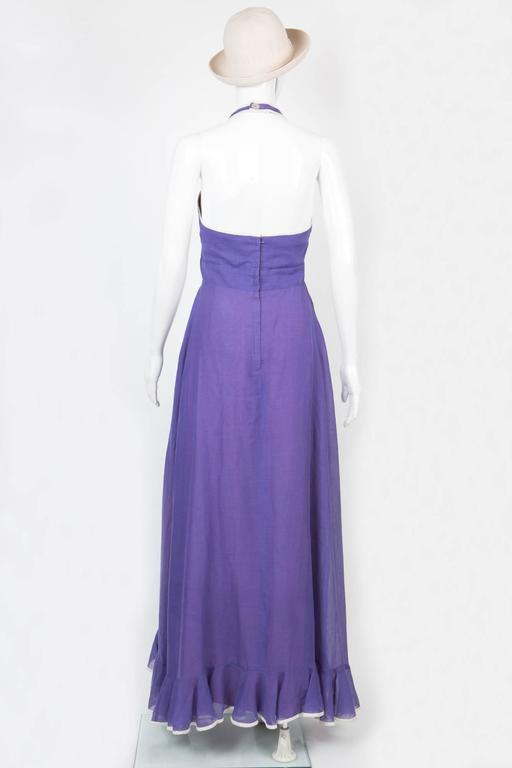 Gorgeous 70s Elliette Lewis Purple Cotton Dress In Excellent Condition For Sale In Paris, FR