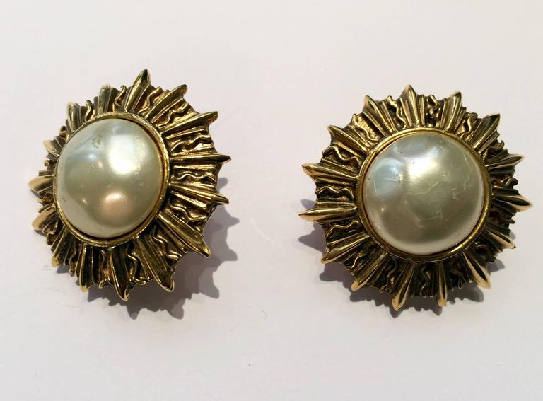 Chanel Classic Faux Pearl Sun Clip On  Earrings 2