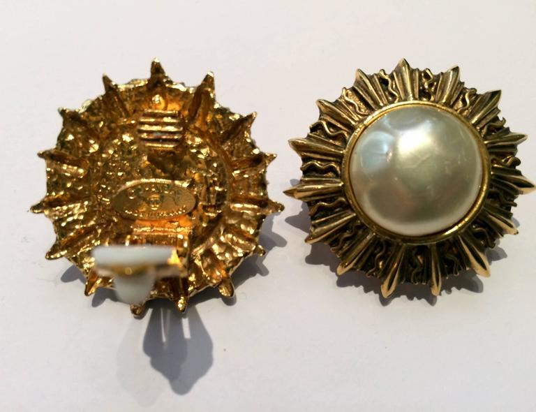 Chanel Classic Faux Pearl Sun Clip On  Earrings 3