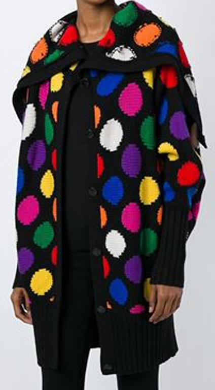 Jc De Castelbajac multicolour wool blend dot oversized jacket featuring a centre front logo button fastening and a large rolled collar.  In excellent vintage condition. Made in France. Label size:S  Estimated size: Large S/M We guarantee you will