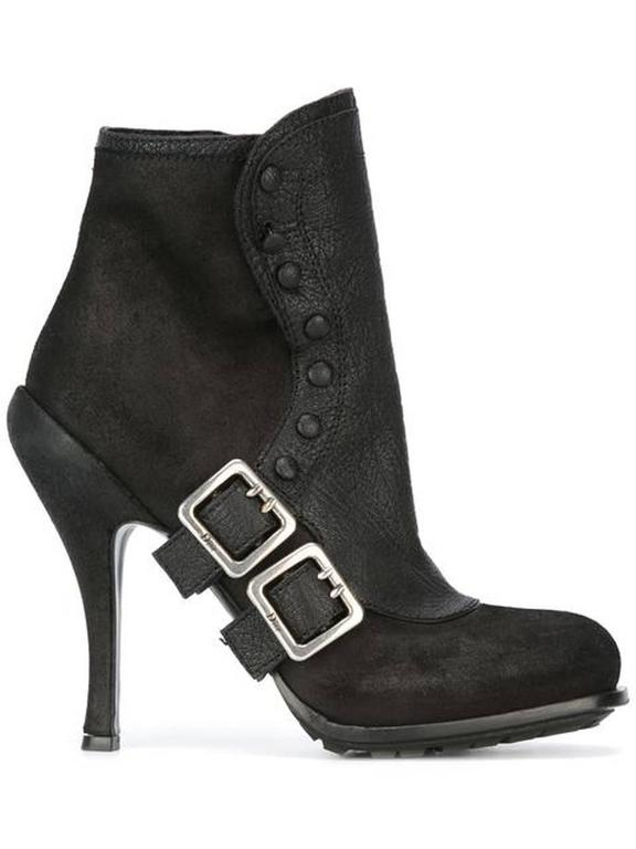 Women's Dior Black Leather Buckled Booties For Sale