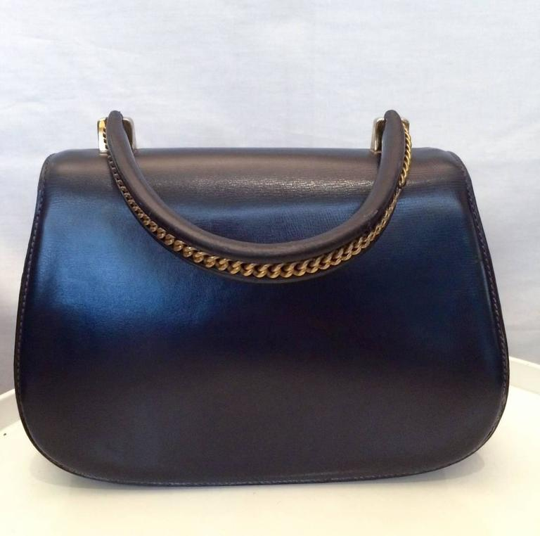 21bab9eef003 1960s Rare Navy Gucci Bamboo Bag In Excellent Condition For Sale In Paris,  FR