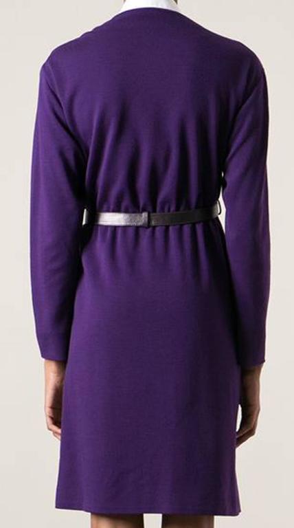 Couture Saint Laurent Purple Wool Dress  2