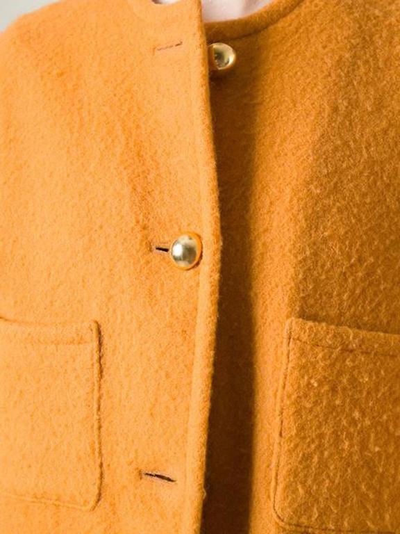 Orange Sunflower Wool Guy Laroche Coat For Sale