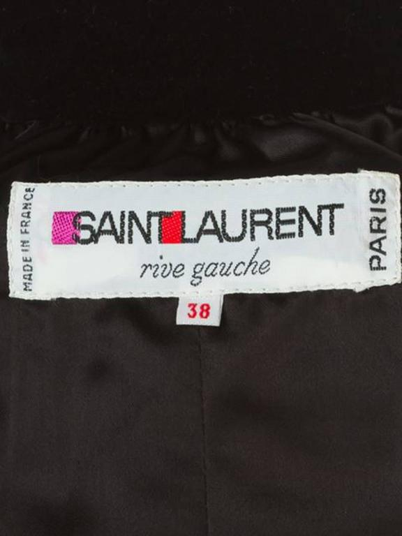 Women's Iconic Saint Laurent Black Velvet Embroidered Coat For Sale