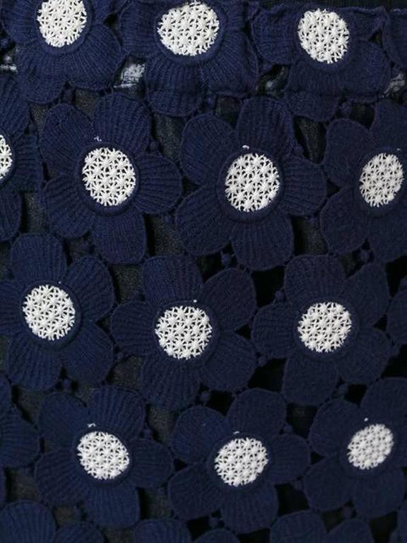 Black Comme Des Garcons Blue and White Embroidered Skirt For Sale