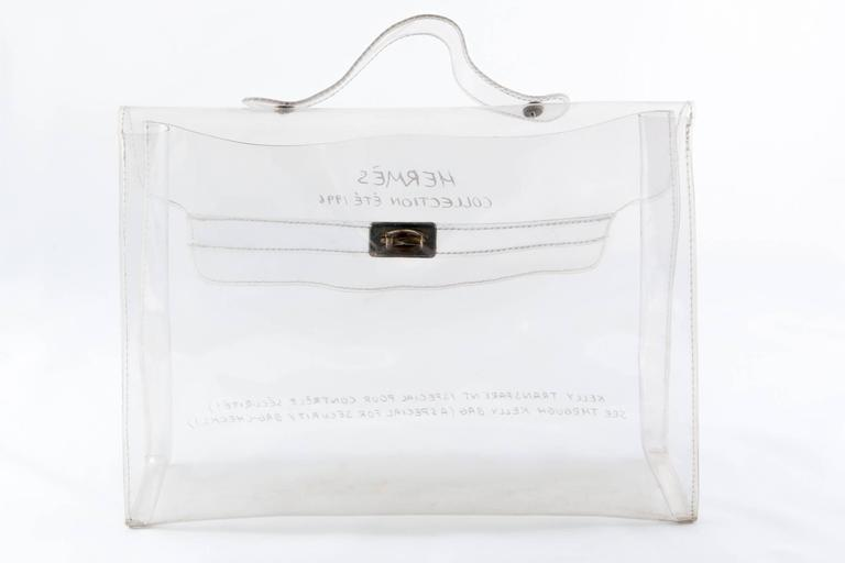 0ad152b1eb8 Gray 1996s Collector Hermes Transparent Plastic Bag-Shaped Kelly For Sale