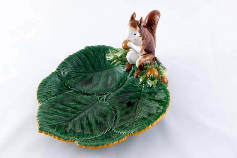 Black Rare Christian Dior French Hand-Painted Barbotine Squirrel Platte For Sale