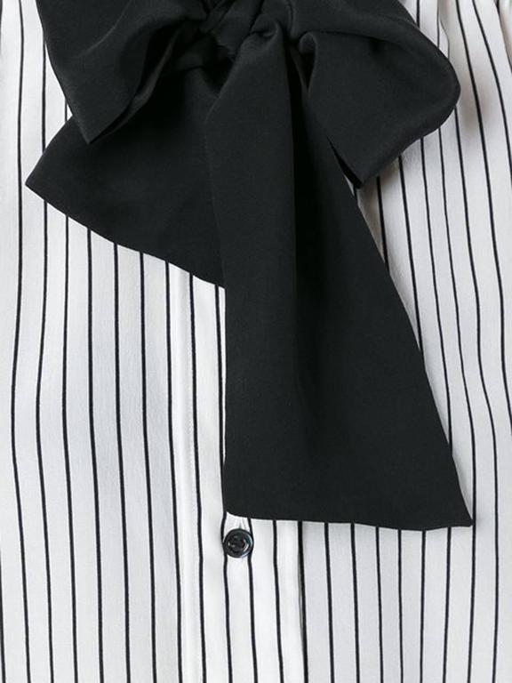 Saint Laurent Black and White Silk Pussy Bow Shirt 3
