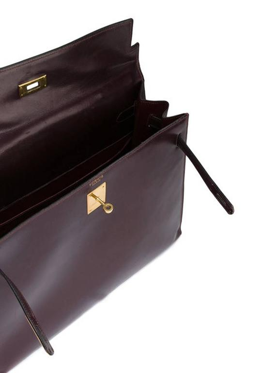 Black Hermes Cherry Box Calf Kelly 35cm Tote Bag For Sale