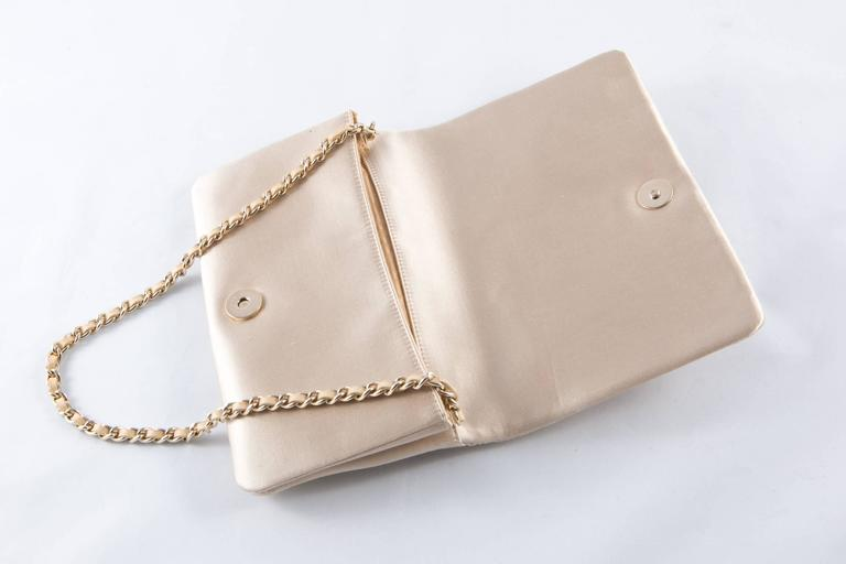 Beige Evening Chanel Satin Quilted Clutch For Sale