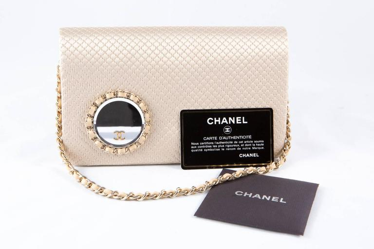 Women's Evening Chanel Satin Quilted Clutch For Sale