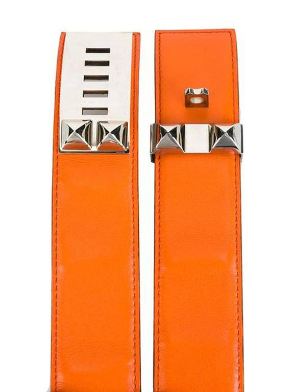 Gorgeous Hermes Orange Calfskin Leather Collier de Chien Medor Belt 75cm 2