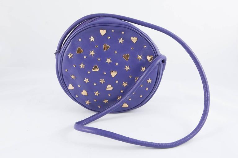 Gorgeous Saint Laurent Purple Leather Shoulder Bag In Excellent Condition For Sale In Paris, FR