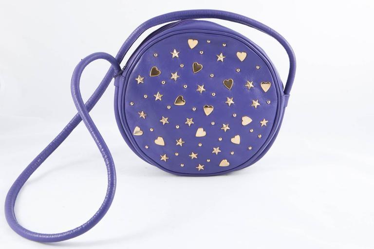 Gorgeous Saint Laurent Purple Leather Shoulder Bag 2