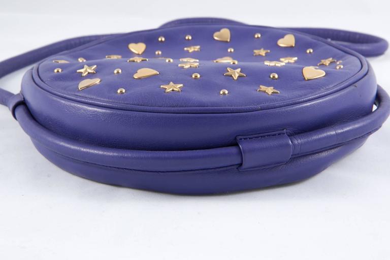 Gorgeous Saint Laurent Purple Leather Shoulder Bag 4