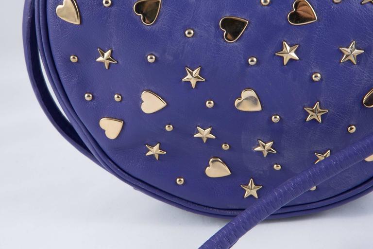 Gorgeous Saint Laurent Purple Leather Shoulder Bag For Sale 1