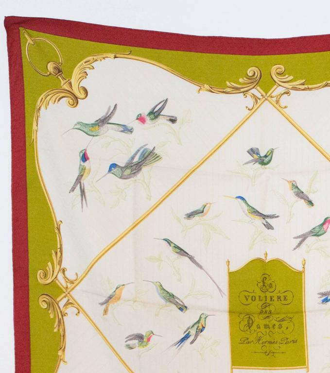 1960s Hermes  « A la volière Des Dames » multi scarf featuring a jacquard silk ground, a birds scenic print. 90cm x 90cm  In excellent vintage condition. Made in France. We guarantee you will receive this gorgeous item as described and showed on