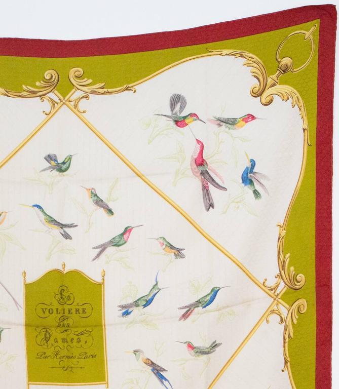 Beige 1960s Hermes A La volière Des Dames silk scarf For Sale