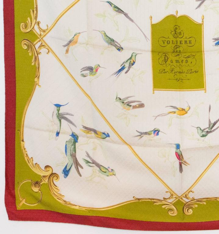 Women's or Men's 1960s Hermes A La volière Des Dames silk scarf For Sale