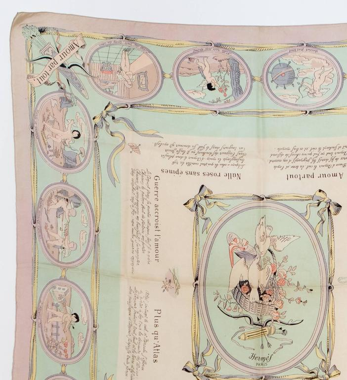 1947s Hermès light pink silk scarf  Les Amours featuring an angel scenic print, designed by H. Grygkar   90cm x 90cm  In good vintage condition. Made in France. We guarantee you will receive this gorgeous  iconic as described and showed on photos.