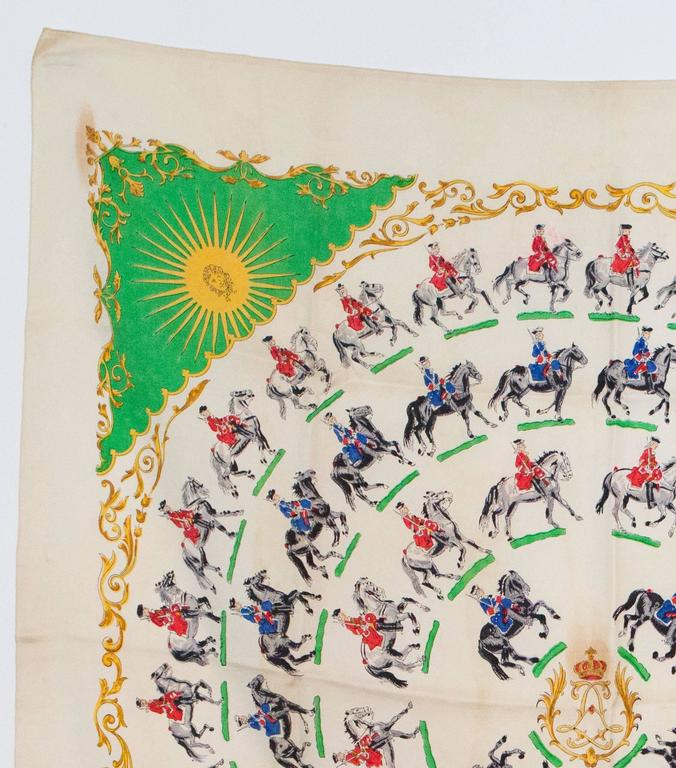 Beige 1930s Rare Hermes Silk Scarf For Sale