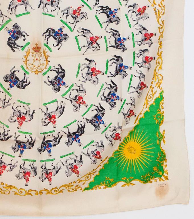 Women's or Men's 1930s Rare Hermes Silk Scarf For Sale
