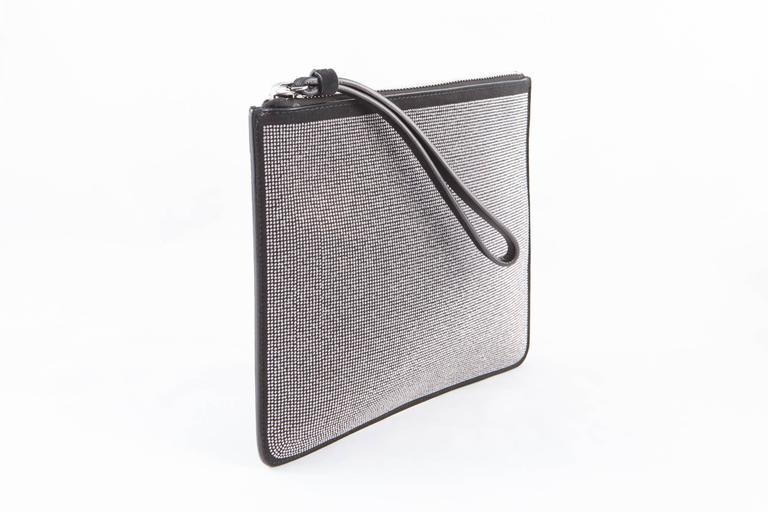 Gray Giuseppe Zanetti Black Evening Clutch Suede Lamb and Silver Tone Studs For Sale