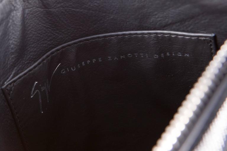 Giuseppe Zanetti Black Evening Clutch Suede Lamb and Silver Tone Studs 5
