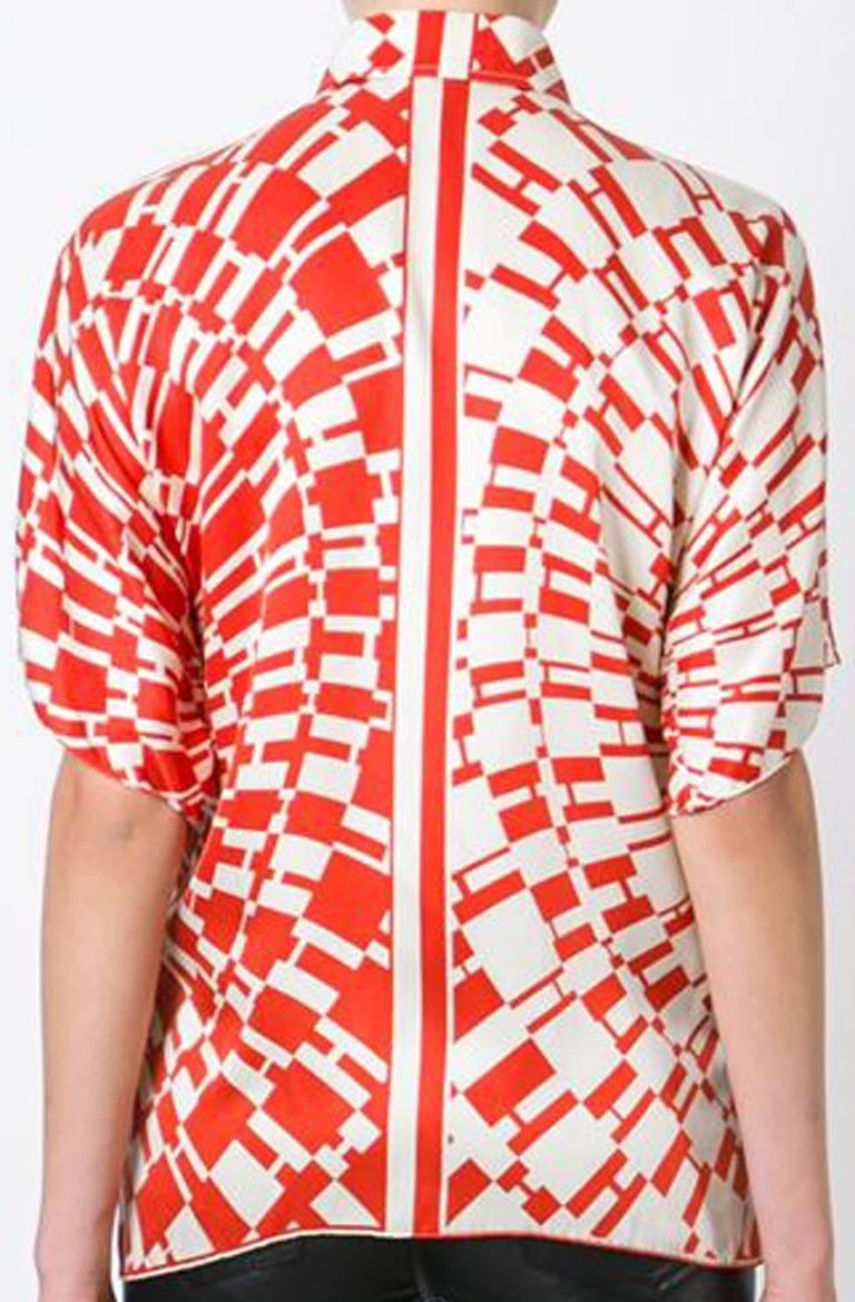 Red Hermes H Logo Print Shirt 2