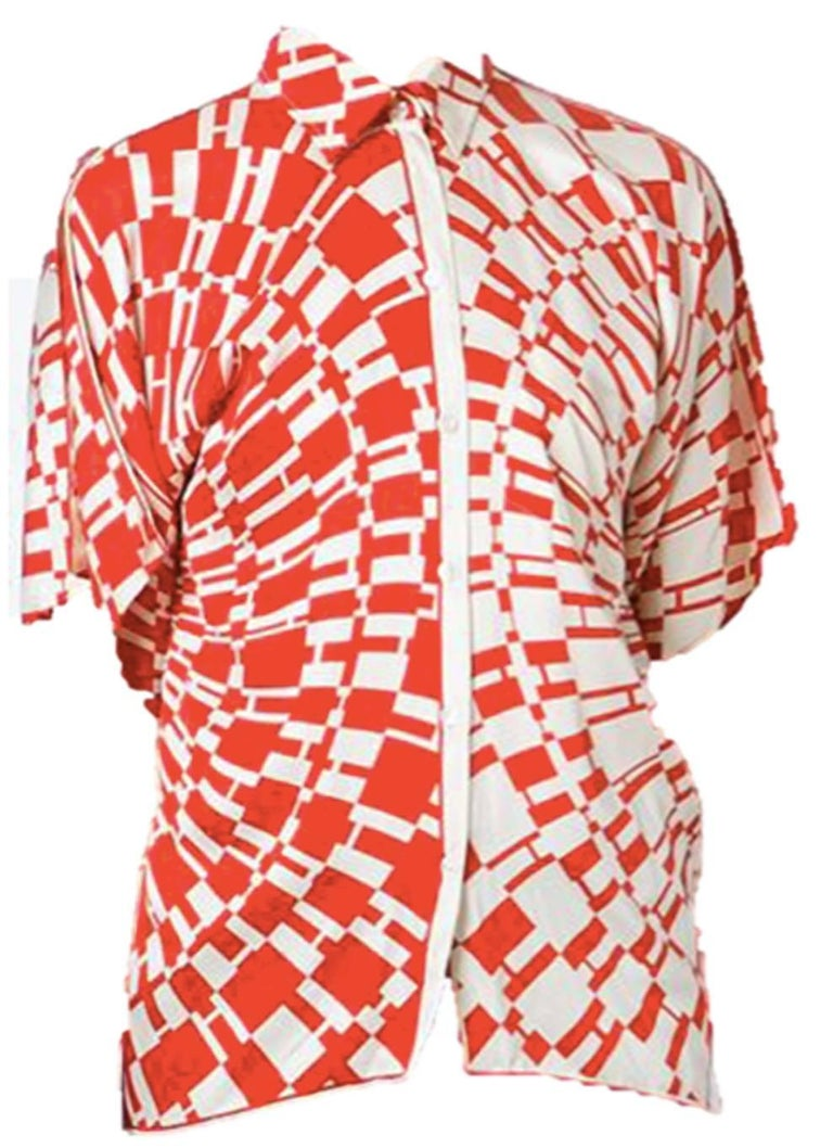 Red Hermes H Logo Print Shirt 3