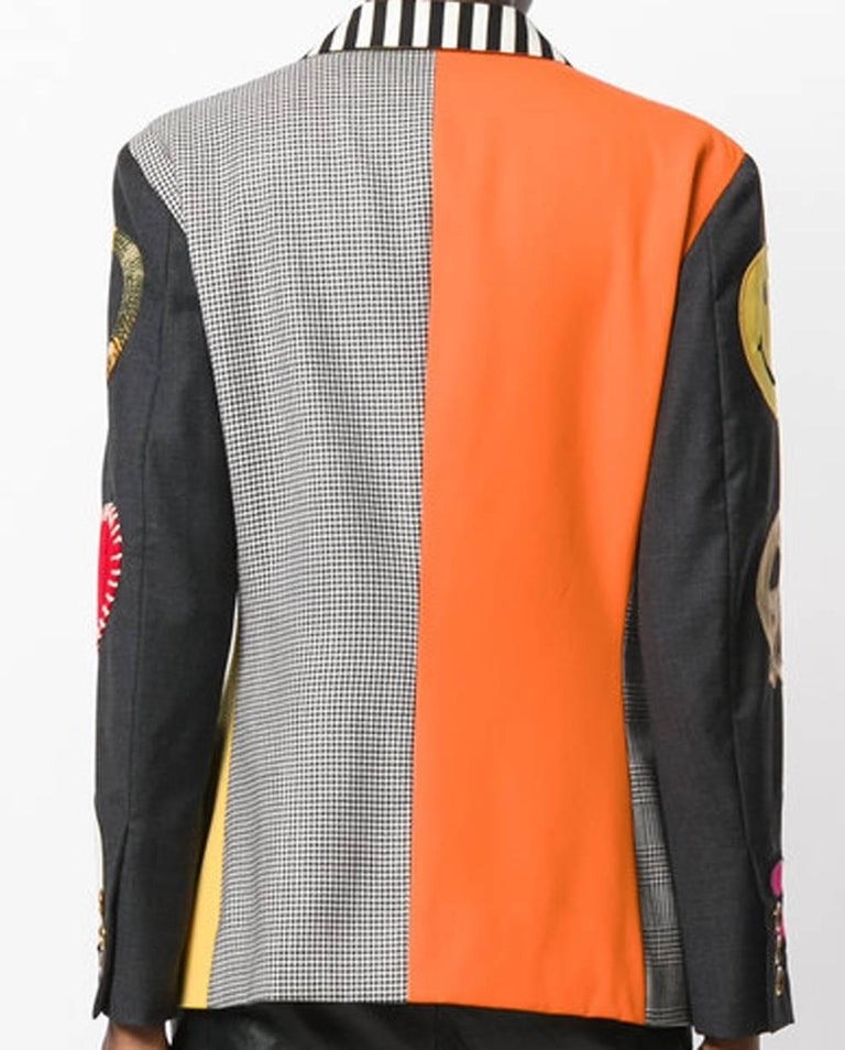 Gray Moschino Couture Multico Patches Blazer For Sale