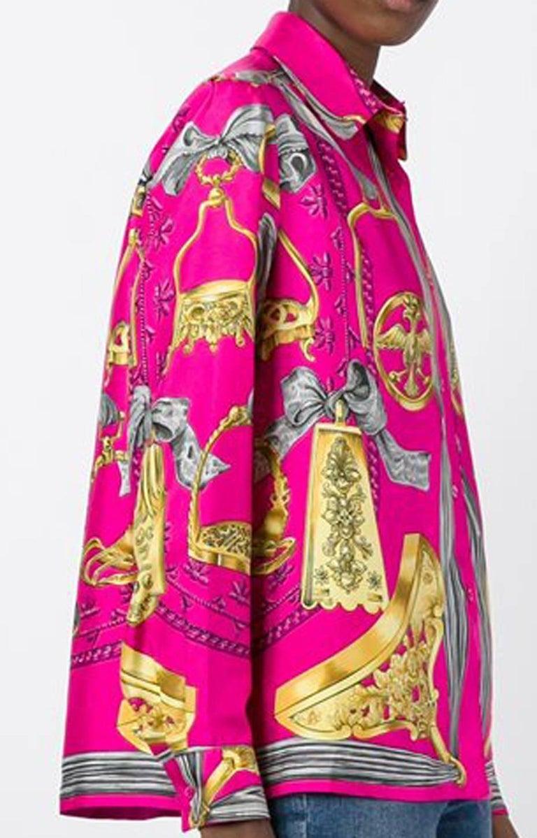Pink Hermes Baroque Silk Print Shirt 2