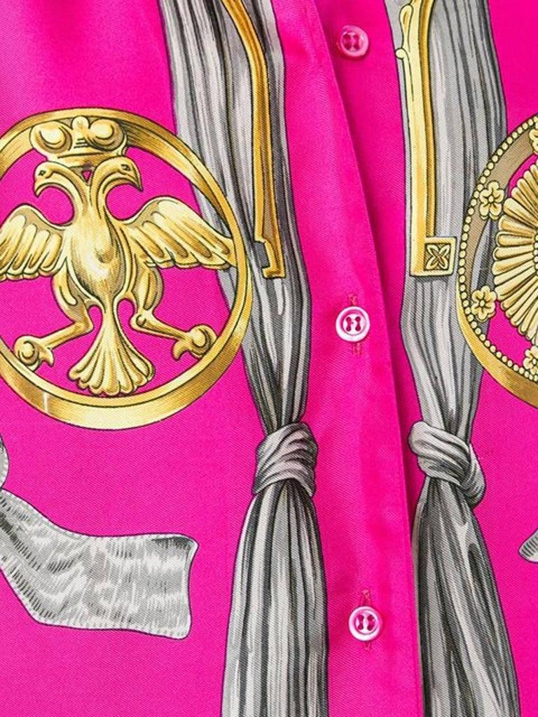 Pink Hermes Baroque Silk Print Shirt 4