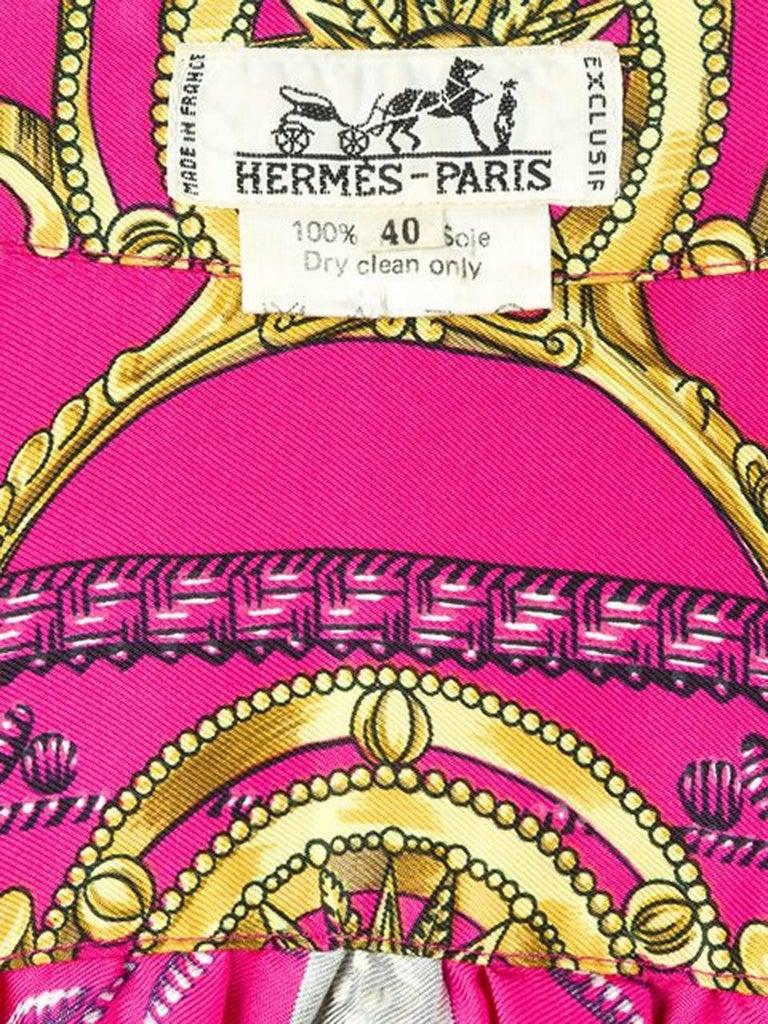 Pink Hermes Baroque Silk Print Shirt 5