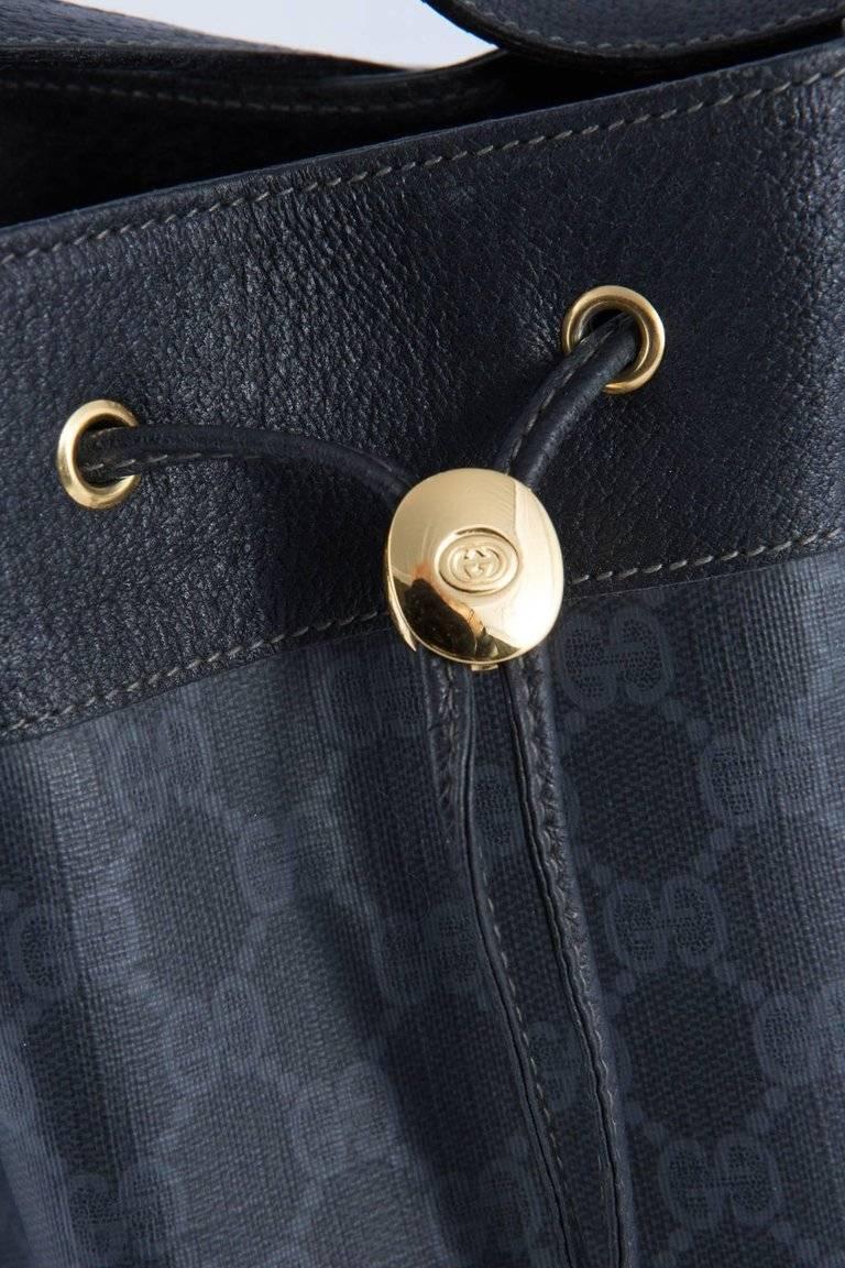 7873c315a10 Women s or Men s 1980s Gucci Black Canvas Bucket Bag For Sale